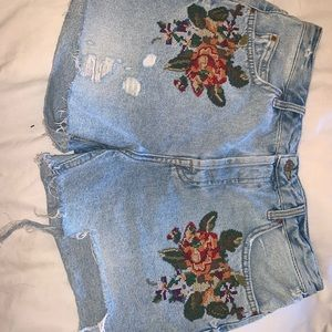 Topshop Shorts - Embroidered Topshop Jean Shorts